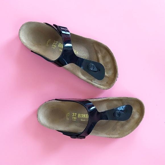 e4512cfb7 Birkenstock Shoes - Birkenstock Gizeh Birko-Flor Black Patent Sandals